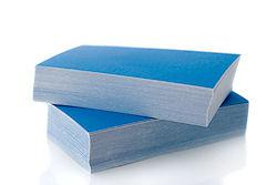 stack of blue business cards