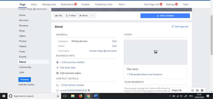 About Facebook business page