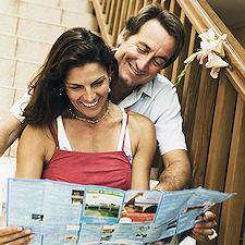 couple looking at a brochure