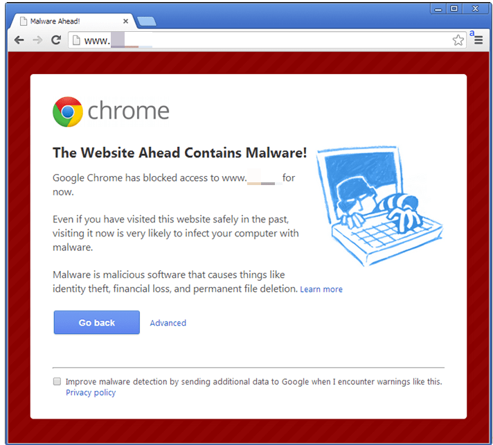 Chrome malware alert