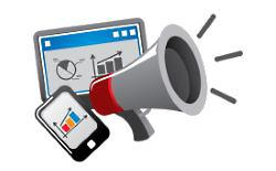 megaphone with marketing graph