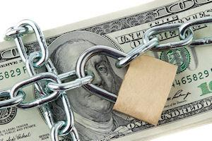 money with lock and chain