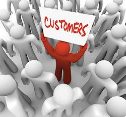 Customer in a crowd of people