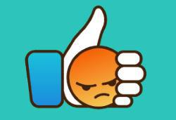 angry emoticon in like button